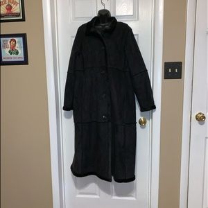 Suede like long button up coat.